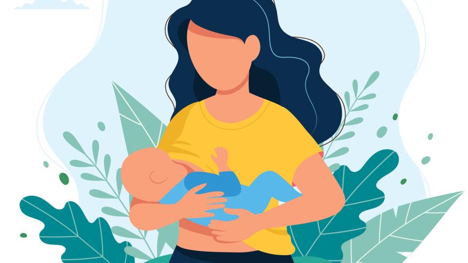 Stillen Baby Illustration - Es wird empfohlen, Babys in ihren ersten sechs Lebensmonaten ausschließlich zu stillen. - © Shutterstock