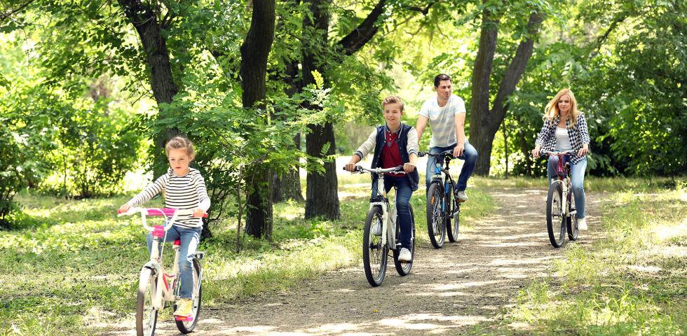 Familie Fahrrad Bewegung Sport - Radfahren kräftigt unter anderem die Rückenmuskulatur. - © Shutterstock