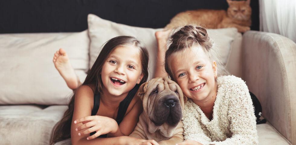 Katze und Hund mit Kindern auf Sofa_Haustiere_shutterstock_451456273 - Giardien können sowohl Menschen als auch unsere Hund und Katze befallen.