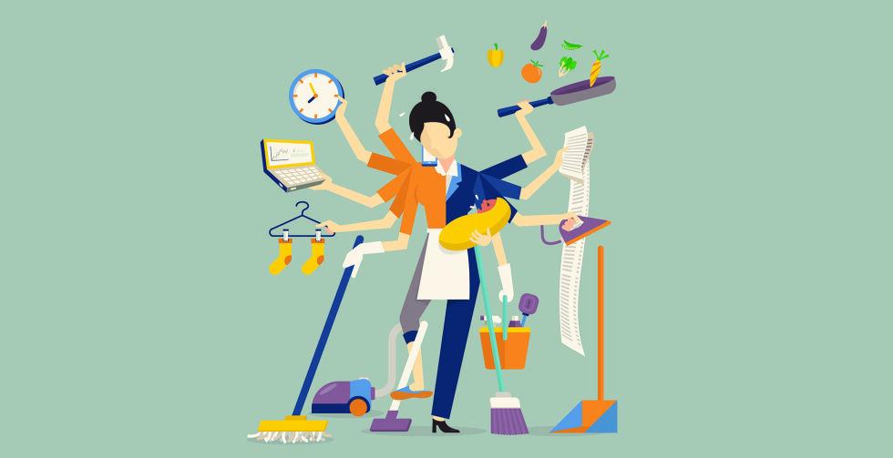 Hausfrau Stress_Multitasking - Es gibt viele Stress-Auslöser. Unser Tipp: Geben Sie ein paar Aufgaben an andere ab, wenn Ihnen alles über den Kopf wächst. - © Shutterstock