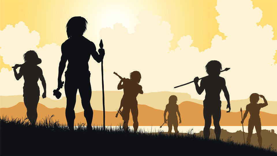 Steinzeit Männer Jäger_Rollenbilder - In der Steinzeit befähigte uns die Reaktion unseres Körpers auf Stress dazu, Bedrohungen zu meistern, zu kämpfen oder zu fliehen. - © Shutterstock
